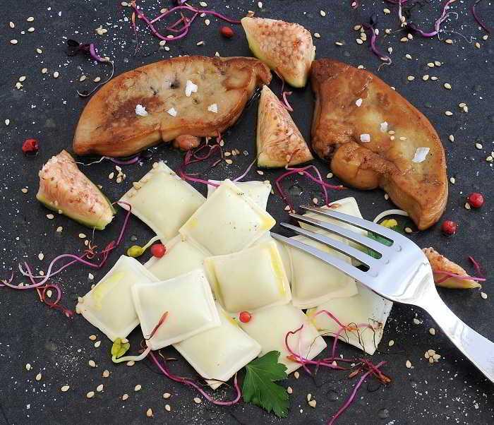 Foie gras et Ravioles Mère Maury