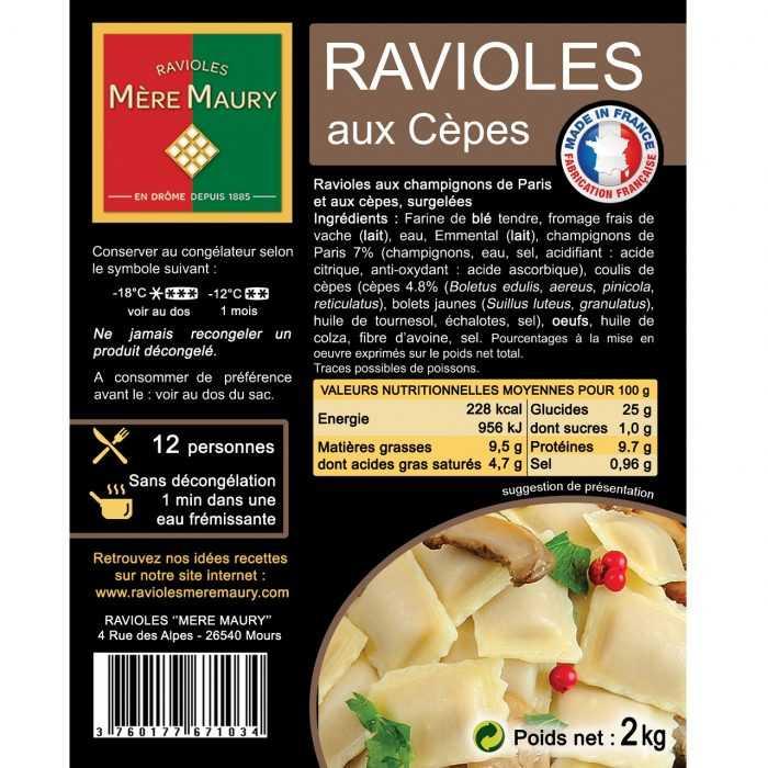 Ravioles Mère Maury surgelées aux Cèpes 2kg
