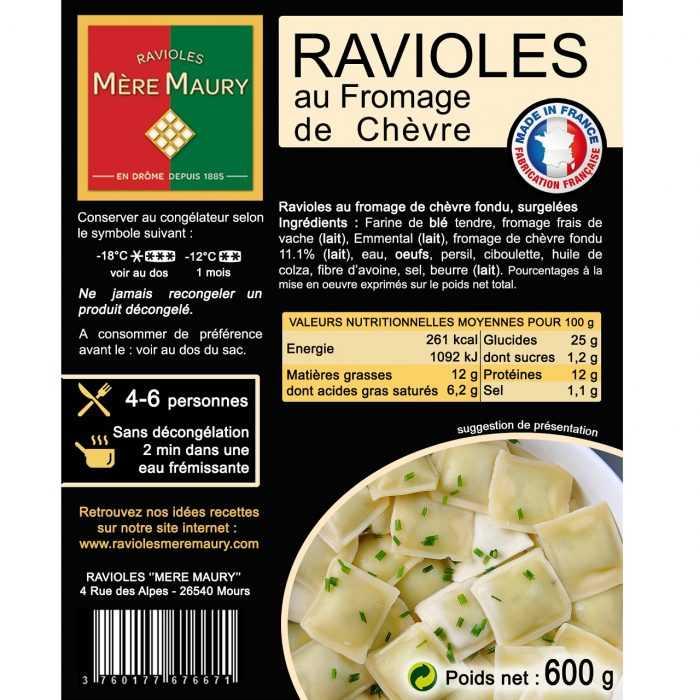 Ravioles Mère Maury surgelées au Fromage de Chèvre 600g