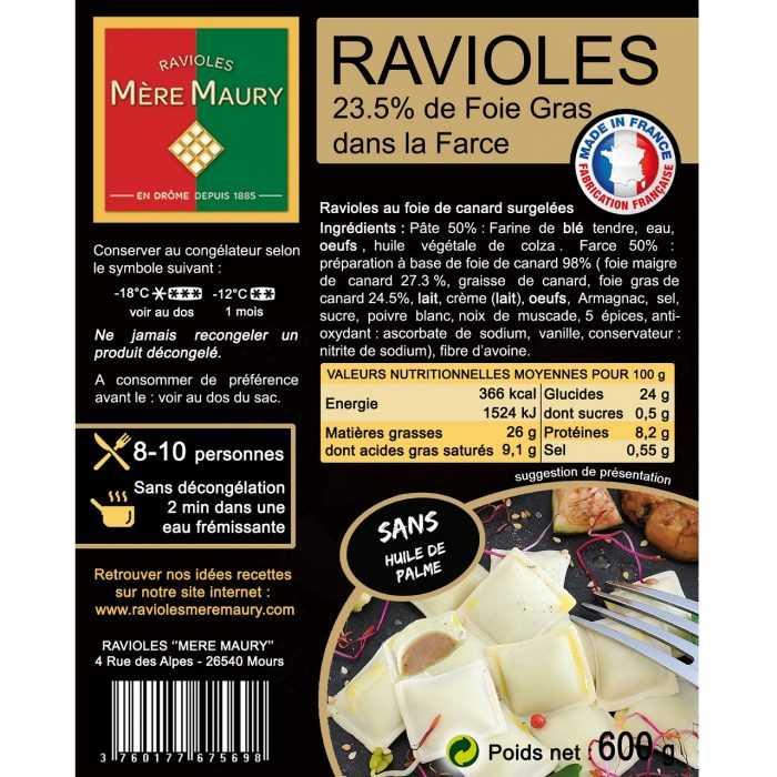 Ravioles surgelées au Foie de Canard 600g (23,50% de Foie Gras dans la farce)