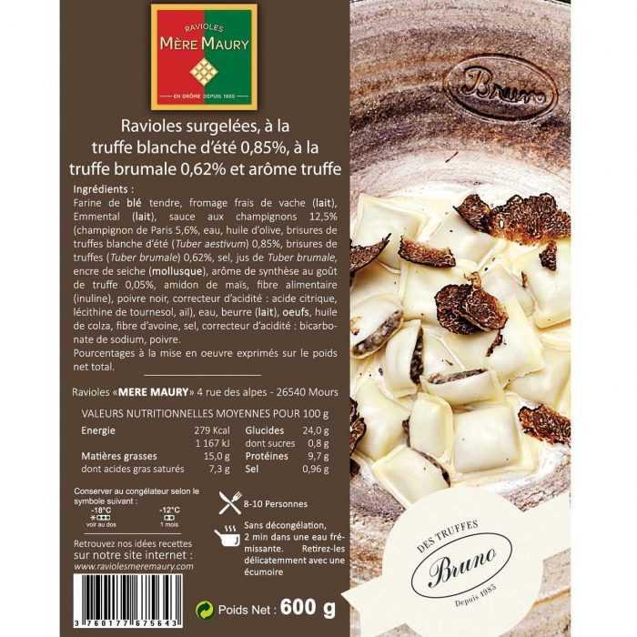 Ravioles surgelées Truffe d'Été 0,85% Truffe Brumale 0,62% et arôme Truffe 600g