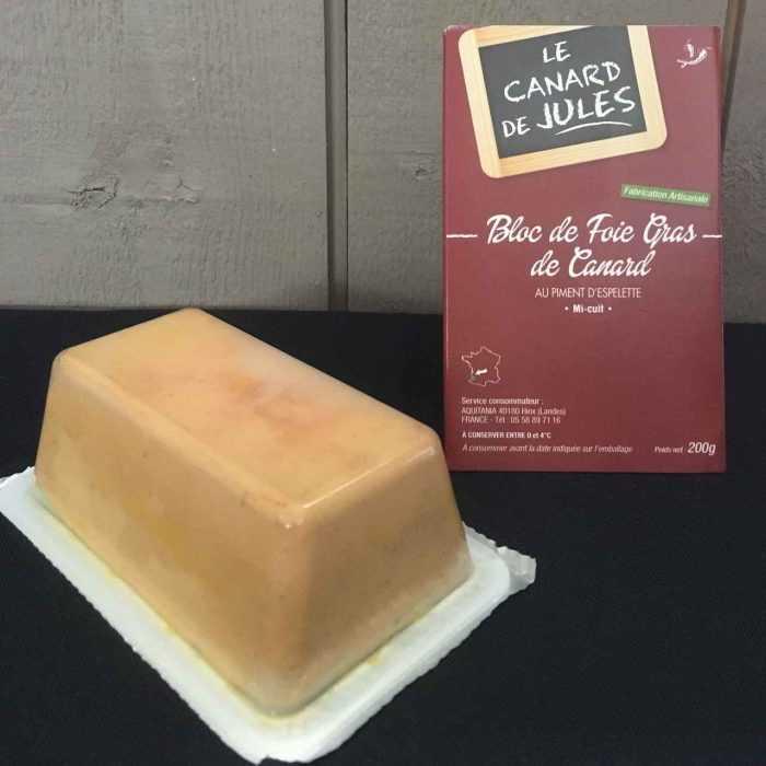Bloc de Foie gras mi-cuit - piment d'Espelette,, Le foie gras de Jules