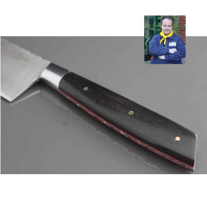 Couteau Cuisine 20cm manche ébène de Fernando Ramos - détail manche