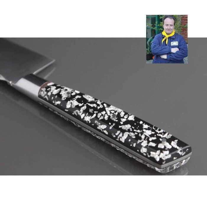 Couteau Cuisine 20cm manche résine Pailles argent de Fernando Ramos - détail dos
