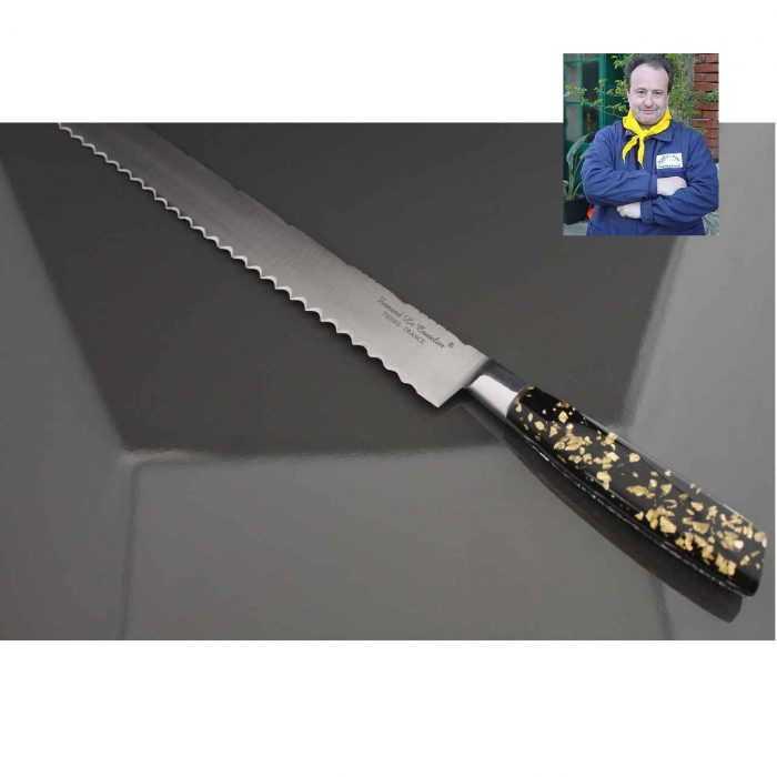 Couteau Génoise 30cm manche résine pailles d'Or et Argent de Fernando Ramos