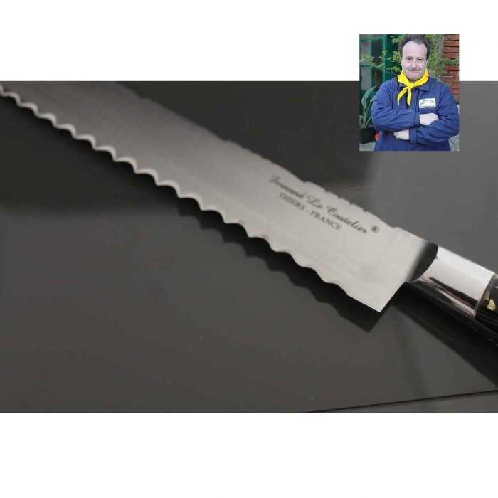 Couteau Génoise 30cm manche résine pailles d'Or et Argent de Fernando Ramos , la lame