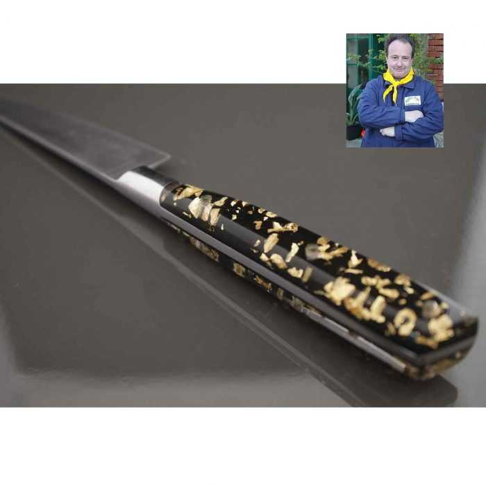 Couteau de Cuisine Office 10cm manche résine Pailles d'or - dos