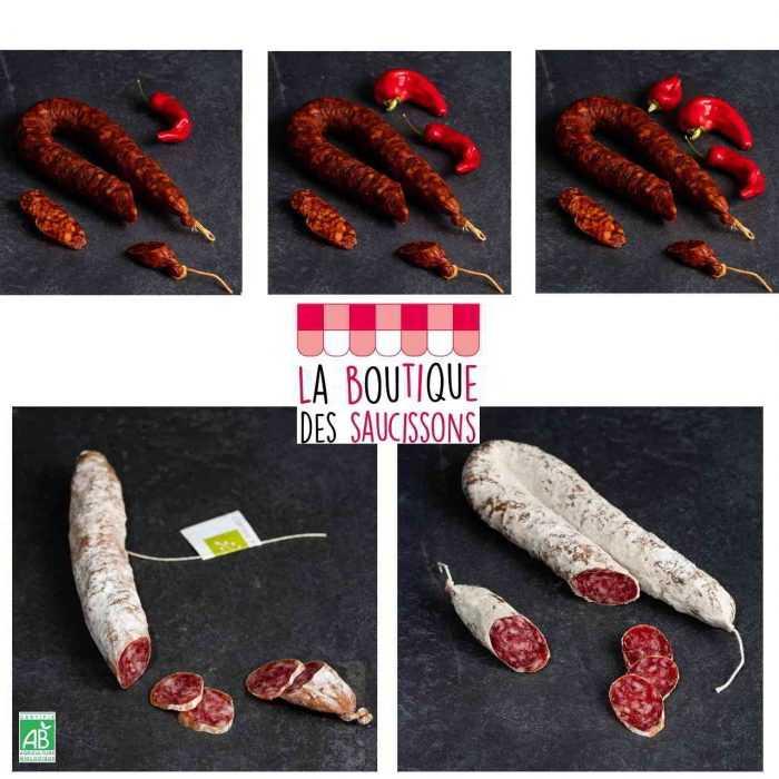 Choix chorizos, saucisse bio ou sèche au jambon de la boutique des saucissons
