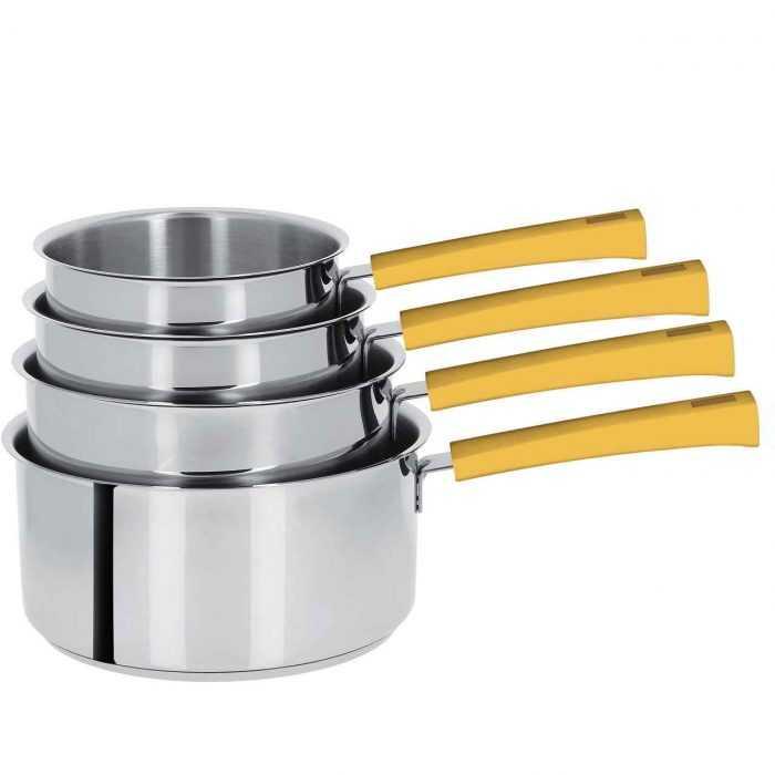 Mutine poignée fixe jaune, casseroles de 14 à 20cm