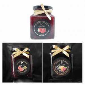 Confitures de fruits rouges : Fraises, Framboises génépi, Cassis airelles miel de Savoie