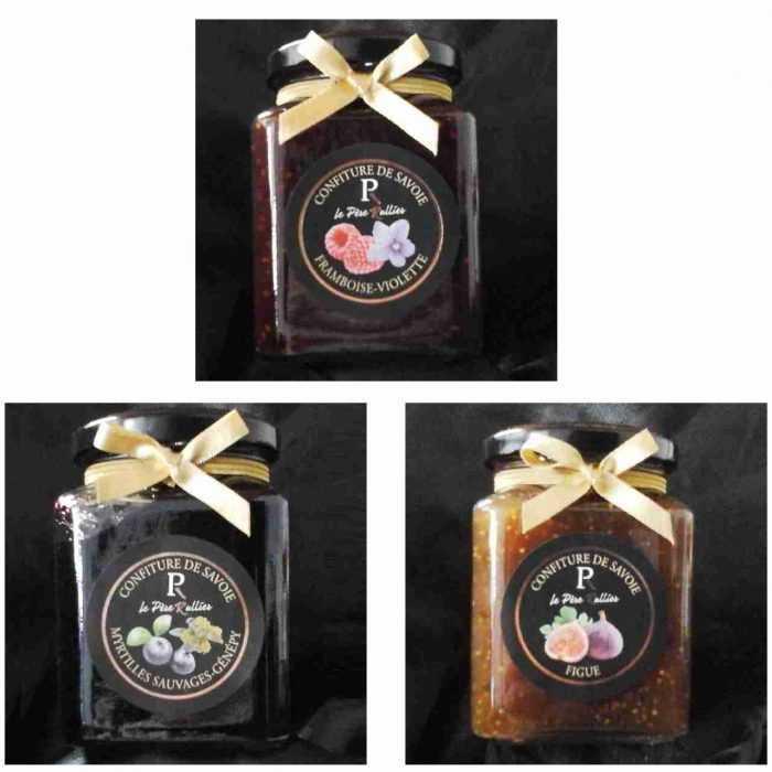 Confitures de fruits des sous-bois : Framboises violette, Myrtilles Génépi, Figues