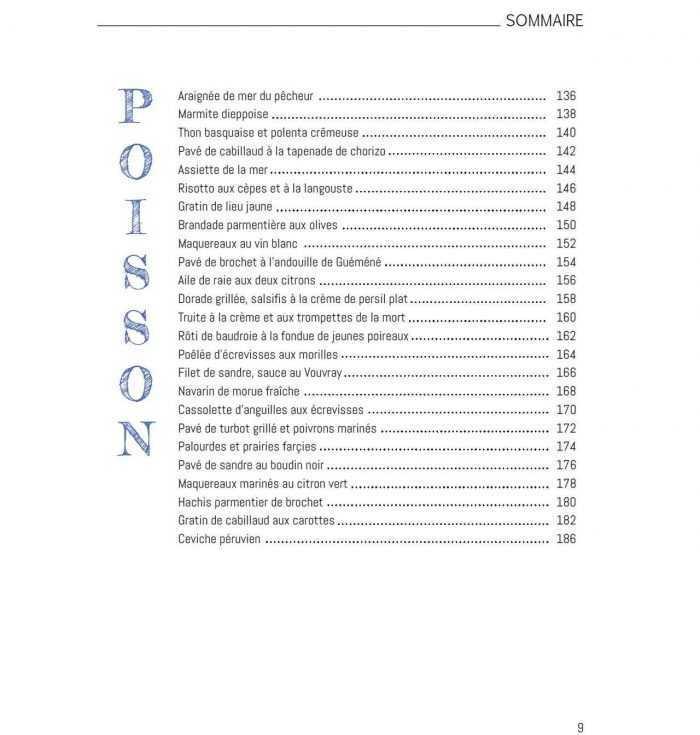 Sommaire Le livre de la cuisine du marché Poissons p9