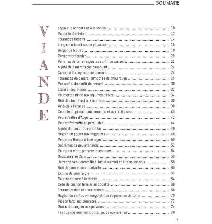Sommaire Le livre de la cuisine du marché Viandes p7