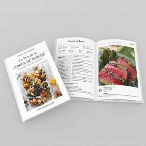 Le livre de la cuisine du marché -entrées, plats, desserts - ouvert